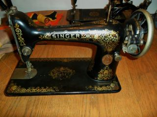 Antique 1918 Singer Sewing Machine Model 66 With Shell Decoration Working photo