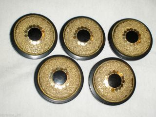 Art Deco Lg Gold Color Adorned Button 5 Pc Set Early 1900 ' S Poss Bakelite? Rare photo