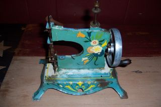 Antique Vintage Pre Wwii Toy Sewing Machine With Folk Art Type Paint photo