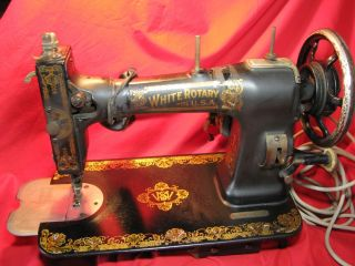 Antique Vintage White Rotary Sewing Machine Family 1920s Electric Motor Works photo