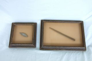 Antique Crochet Hook And Tatting Shuttle Displayed In Glass Shadow Frames photo