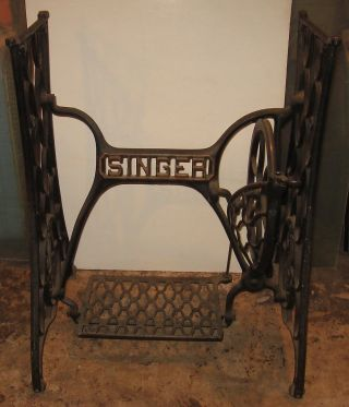 Antique Machine Age Cast Iron Singer Treadle Sewing Machine Legs - Table Base photo