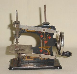 Antique Sewing Machine Girl Toy Complete & Working Condition Made In Germany photo