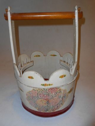 Cute Vintage 1940 ' S Handmade Wood Bucket Sewing Craft Basket Box Painted Tote photo