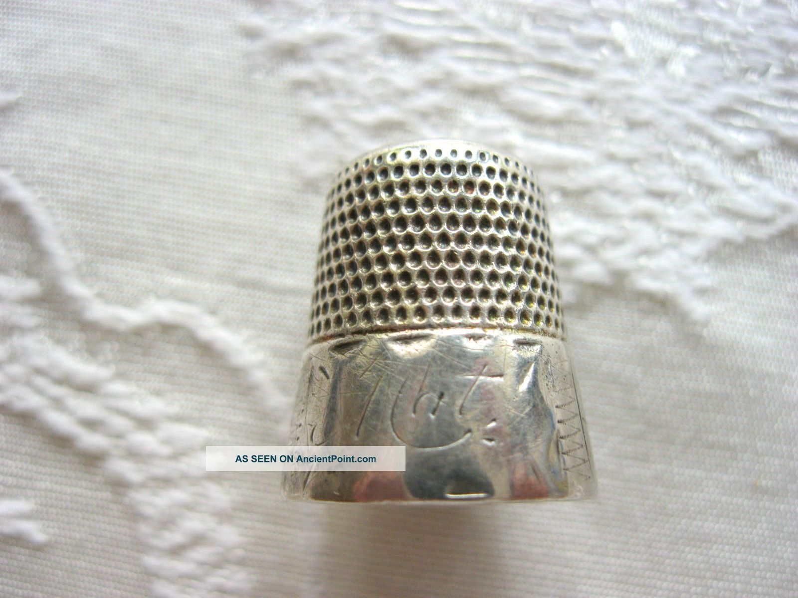 Antique Victorian Sterling Silver Sewing Thimble Engraved Stamped Nat Flower Thimbles photo