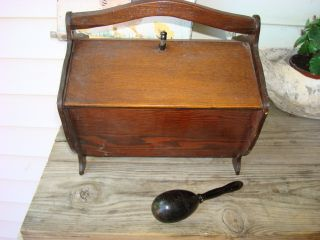 Vintage Wood Sewing Box + Egg Darner - - Box: Two Side Lid Opening Carry Handle photo