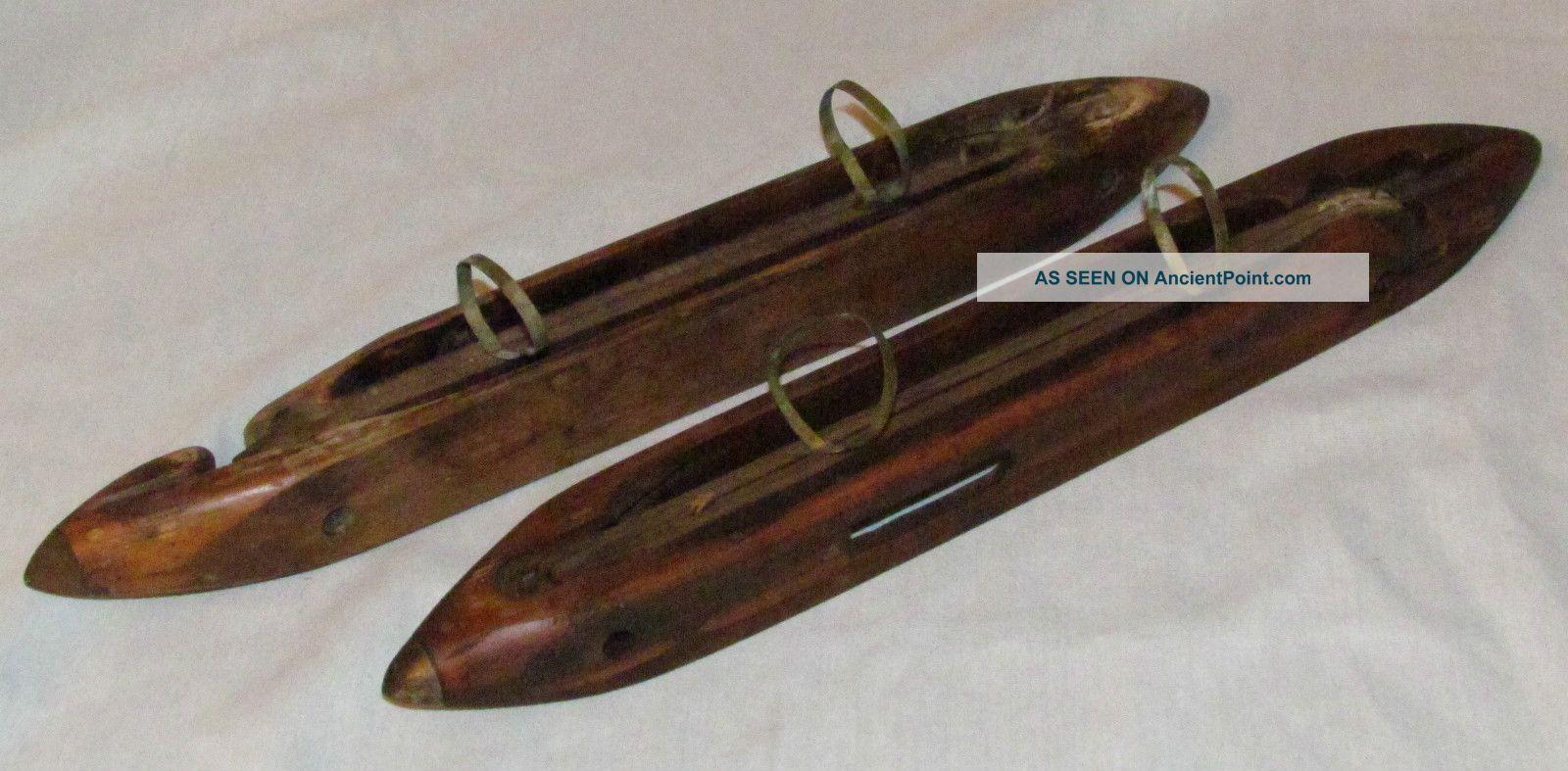 2 Antique Vtg Wood Loom Long Boat Shuttle Tool Bobbin Bsb Wrkshop Watson William Tools, Scissors & Measures photo