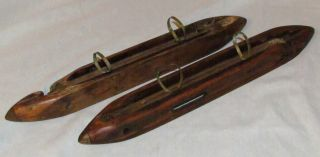 2 Antique Vtg Wood Loom Long Boat Shuttle Tool Bobbin Bsb Wrkshop Watson William photo