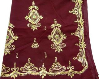 Antique Vintage Saree Maroon Georgette Embroidered Craft Sari Sewing Gr77 photo
