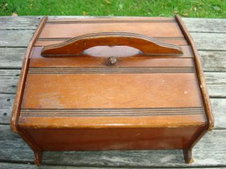 Vintage Wood Sewing Box: Two Side Lid Opening Carry Handle Line Design Unique photo