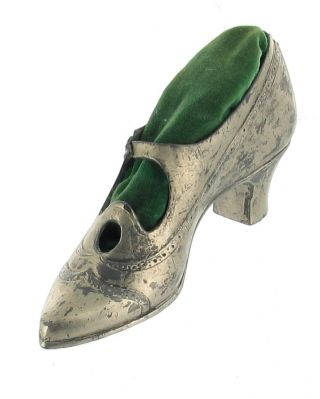 Antique Silver Victorian Sewing Shoe Pin Cushion photo