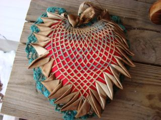 Victorian Red Heart Shape Crochet Pin Cushion Vg photo