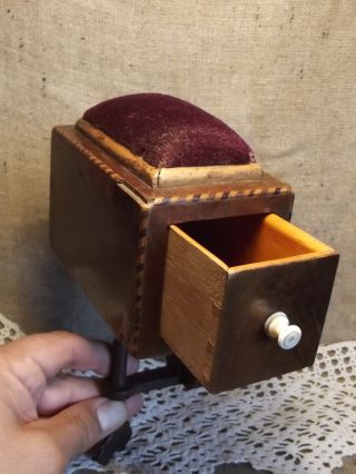 Antique Early 1800 Wooden Sewing Box Needle Pin Cushion - Just. . . photo