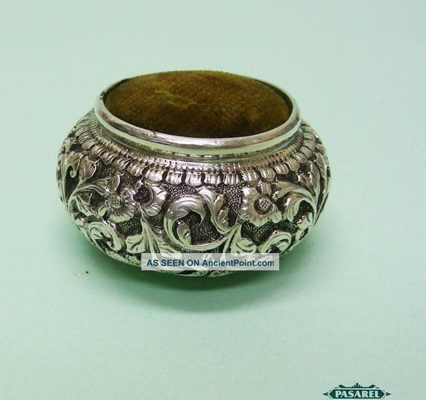 Fine Antique Indian Silver Sewing Pin Cushion Cochin Ca 1900 Other photo