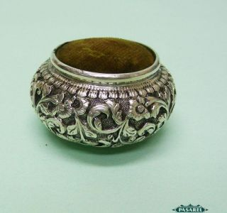 Fine Antique Indian Silver Sewing Pin Cushion Cochin Ca 1900 photo