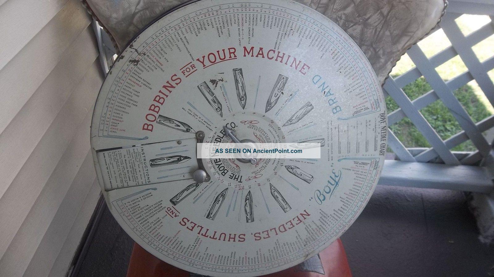 Antique Vintage Boye Co Metal Needle Case Display Rotary Dispenser Needles & Cases photo