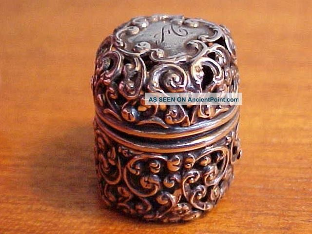 Unger Bros Antique Victorian Sterling Silver Openwork Thimble Holder Thimbles photo