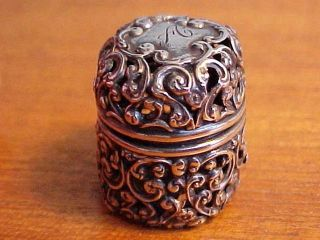 Unger Bros Antique Victorian Sterling Silver Openwork Thimble Holder photo