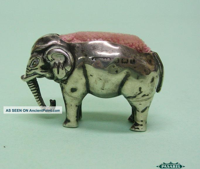 Edwardian Novelty Sterling Silver Elephant Pin Cushion Birmingham England 1905 Other photo