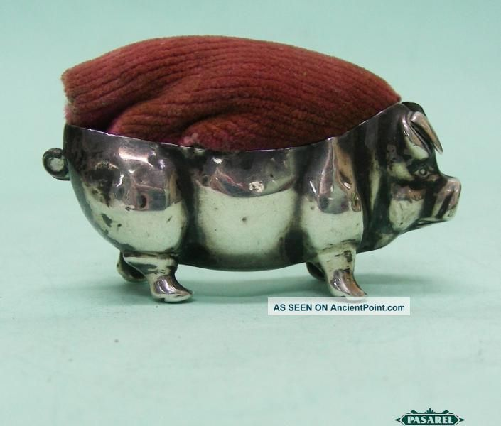 Edwardian Novelty Sterling Silver Pig Pin Cushion Levi & Salaman England 1908 Other photo