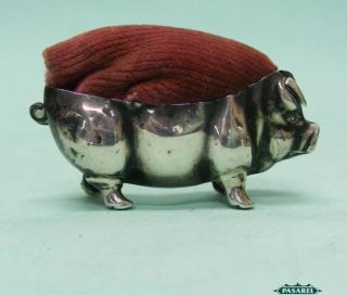 Edwardian Novelty Sterling Silver Pig Pin Cushion Levi & Salaman England 1908 photo