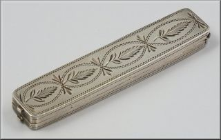 Early English Silver Needle Case W/ Bright Cut Designs photo