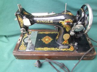 Antique 1923 Singer Portable Model 128 Sewing Machine G Series +case & Key photo