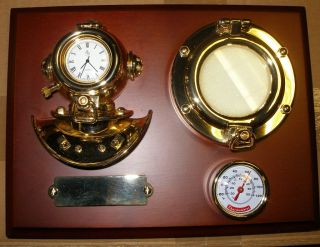 Nautical Dark Wood Plaque Bright Brass Diving Helmet Clock &thermometer New photo