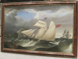 Thomas Buttersworth Antique Oil Painting Late 1768 - 1842 photo