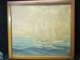 Vintage Sailboat Race Oil On Board Fernano photo