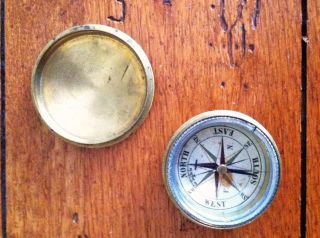 Civil War Era Brass Pocket Compass photo