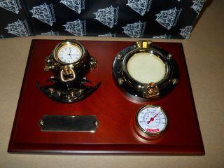 Nautical Dark Wood Plaque Antique Brass Diving Helmet Clock & Picture Frame New photo