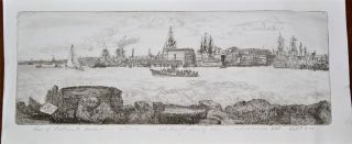 1877 Pencil Signed Etching J.  Eggett Hms Victory At Portsmouth Condition photo