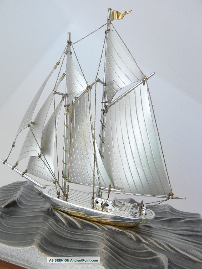 Finest Signed Japanese Hand Made Sterling Silver 960 2 Masted Model Ship By Seki Other photo