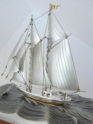 Finest Signed Japanese Hand Made Sterling Silver 960 2 Masted Model Ship By Seki photo