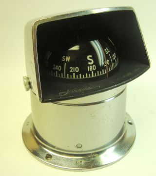 Vintage 1950s Airguide Chrome Mounted Compass: Nautical,  Marine,  Ship,  Sailing photo