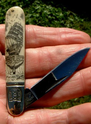 Nautical Scrimshaw Tall Ship,  Whale,  Mini Barlow Folding Knife/knives photo