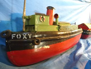 Vintage Toy Boat English River Boat And Barge 1930 ' S Solid Wood/metal 60