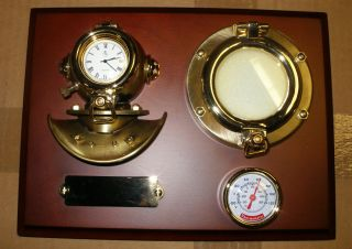 Nautical Dark Wood Plaque Polished Brass Diving Helmet Clock &thermometer New photo