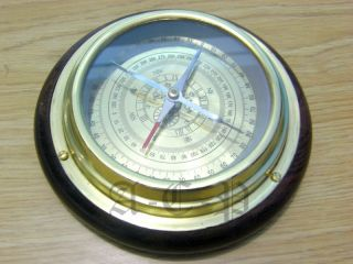 Nautical Brass Compass On Wooden Base Collectible Ship Marine Compass Prop Gift photo