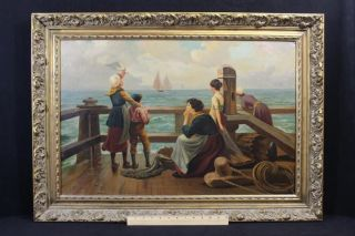 Antique Joseph Tomanek Genre Oil Painting Mother,  Children & Sailor Nr photo