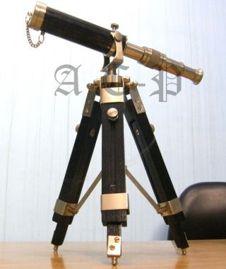 Pewter Finish Decorative Telescope With Stand Collectible Nautical Marine Gift photo