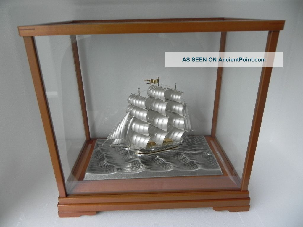 Spectacular Japanese 3 Masted Sterling Silver 985 Clipper Ship By Takehiko Japan Other photo