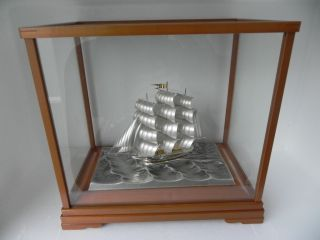 Spectacular Japanese 3 Masted Sterling Silver 985 Clipper Ship By Takehiko Japan photo