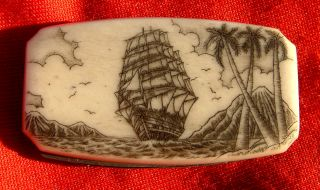Nautical,  Scrimshaw,  Art,  Tall Ship,  Palm Trees,  Folding Knife,  File,  Money Clip photo