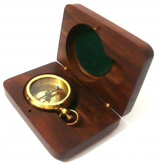 Brass Compass - Epstein London – Pocket Compass With Hard Wood Box photo