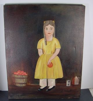 Signed American Primitive Child Basket Of Apples Portrait Painting By Isbell 1 photo