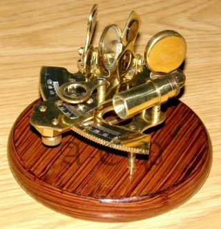 Wooden Base Sextant - Brass Nautical Sextant W/wood Base - Collectible Prop Gift photo