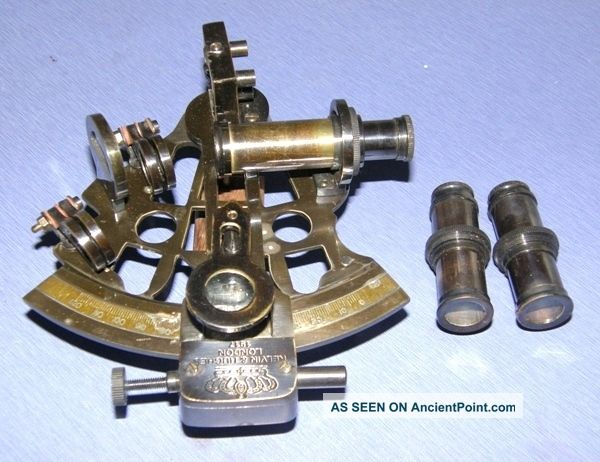 Antique British Navy Sextant With Wooden Box Nautical Brass Sextant Marine Gift Sextants photo
