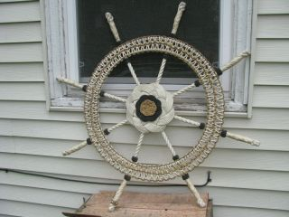 Vintage Large Folk Art Ships Wheel Made From Rope And Knots Trench Art Nautical photo